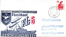 """(FC-3) BRD Cachetumschlag Bundeswehr """"MFG5 MARINEFLIEGERDIVISION MFlgDiv FlusiBoot FL-6"""" EF BRD TSt 19.7.1977 KIEL 1 - BRD"""