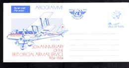 ISLE OF MAN ISOLA 1934 1984 FIRST OFFICIAL AIRMAIL SERVICE AEROGRAM AEROGRAMME AIR LETTER AEROGRAMMA 26p UNUSED NUOVO - Isola Di Man