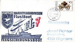 """(FC-3) BRD Cachetumschlag Bundeswehr """"MFG5 MARINEFLIEGERDIVISION MFlgDiv FlusiBoot FL-7"""" EF BRD TSt 19.7.1977 KIEL 1 - BRD"""