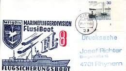 "(FC-3) BRD Cachetumschlag Bundeswehr ""MFG5 MARINEFLIEGERDIVISION MFlgDiv FlusiBoot FL-8"" EF WB TSt 19.7.1977 KIEL 1 - BRD"