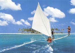 Bora Bora (Polynésie Française) - Pirogue à Voile Devant Motu Tapu - French Polynesia
