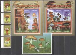 C1195 GRENADA FLORA NATURE MUSHROOMS !!! 2KB+1BL+1SET MNH - Funghi