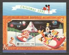 Sierra Leone 1991 Mi Block 186 MNH DISNEY X-MAS - Disney