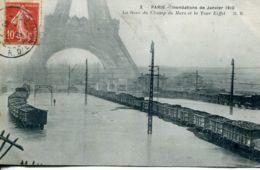 N°74990 -cpa Paris -la Gare Du Champ De Mars -inondations De Janvier 1910- - Stations With Trains