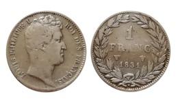 LOUIS PHILIPPE 1 FRANC 1831 W (Lille) Tête Nue - France