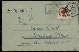 S6362 - DR WW I Militär Feldpost Briefumschlag Mit Rotes Kreuz Vignette: Gebraucht Feldpost - Straßburg Elsaß 1915 , B - Lettres & Documents