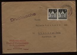 S2149 BRD 2 Pfg Bauten Paar MeF, Briefumschlag Gebraucht Braunschweig - Limburg 1949, Bedarfserhaltung. - Cartas
