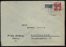 S1621 Französische Zone ,Brief ,gebraucht Mit Notopfermarke Nierstein - Wiesbaden 1949 . Bedarfserhaltung. - Französische Zone