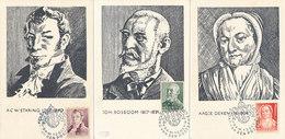 D37760 - 5 CARTES MAXIMUM CARDS FD 1941 NETHERLANDS - COMPLETE SERIES - POET, POETRESS, PAINTER, MEDICINE, PHYSICIAN - Cartoline Maximum