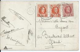 Fantasiekaart Met OCB 190-192 -afstempeling ST.LIEVENS-HOUTEM - 1922-1927 Houyoux