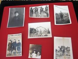 MILITARIA LOT De 7 Photos Photographie Photos Originales Algerie à étudier..Guerre, Militaires En Pose Avec Fourragère - Krieg, Militär