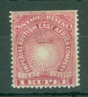 British East Africa: 1890/95   Light & Liberty   SG14    1R   Carmine   MH - Kenya, Uganda & Tanganyika