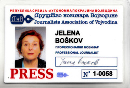 JOURNALIST FEDERATION OF VOJVODINA - Documenti Storici