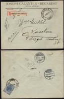 Romania -  Registered Cover 'JOSEPH GALANTER - BUCAREST' Bucuresti 1.2.1907 - Raschau, Germany (missing A Stamp). - 1881-1918: Charles I