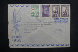 FINLANDE - Enveloppe Illustrée Jeux Olympiques De Helsinki Pour La France En 1952, Affranchissement Plaisant - L 37625 - Lettres & Documents