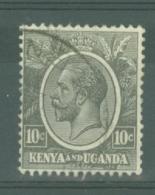Kenya & Uganda: 1922/27   KGV    SG80    10c   Black    Used - Kenya, Uganda & Tanganyika