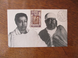 L'EMPEREUR MENELIK ET SA FEMME TAÏTOU  CACHET DIRE-DAOUA 14 IX 1925 TIMBRE 1/8 CUERCHE - Äthiopien