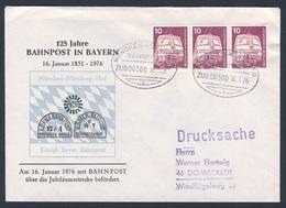 Deutschland Germany 1976 Brief Cover - 125 Jahre Bahnpost In Bayern - 1851 - 1976 - ZUG 00300 Bahnpost München-Nürnberg - Treinen