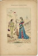 Gravure Ancienne Costumes De Paris Du XV XVI ème Siècle Chatelaine Et Son Page Nobles Noblesse  Château - Collections