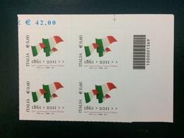 Italia 2011 - Tricolore Simbolo Di Identità Nazionale - QUARTINA - Italia 2011 - Codici A Barre - Blocchi & Foglietti
