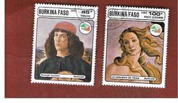 "BURKINA FASO    -   SG 823.830  -  1985  INT. STAMP EXN. ""ITALIA '85"": BOTTICELLI PAINTINGS     - USED ° - Burkina Faso (1984-...)"