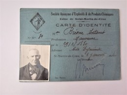 Carte D' Identité Professionnelle SOCIETE ANONYME D'EXPLOSIFS & DE PRODUITS CHIMIQUES - Historical Documents