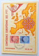 Schweiz Suisse 1959: Zu 349-350 Mi 681-682 Yv 632-633 CM PÉN-MK O RÈUNION CONFÉRENCE EUROPÉENNE DES PTT 22.6.59 Montreux - Maximumkarten (MC)