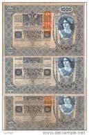 3 Oude Oostenrijkse Bankbiljetten Tausend Kronen - Autriche