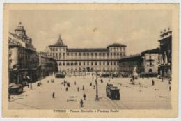 TORINO   PIAZZA   CASTELLO   E  PALAZZO   REALE   (TARGHETTA  2 SCAN)         (VIAGGIATA) - Palazzo Reale
