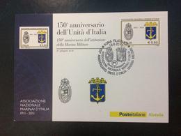 """2011 Cartolina Filatelicha FDC """"150°ANNIVER. UNITA' D'ITALIA MARINA MILITARE"""" - 6. 1946-.. Repubblica"""