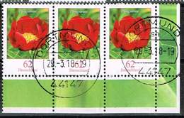 Bund 2014, Michel# 3114 O Blumen: Pfingstrose Waagerechter Dreierstreifen Rechte Untere Ecke - BRD
