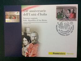 """2011 Cartolina Filatelicha FDC """"150°ANNIVER. UNITA' D'ITALIA 2011 EMISSIONE CONGIUNTA ITALIA - SAN MARINO G. GARIBALDI - 6. 1946-.. Repubblica"""