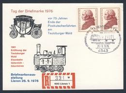 Deutschland Germany 1976 Karte Card - 75 Jahre Teutoburger Wald Eisenbahn Gütersloh - Ibbenbüren- Briefmarkenausstellung - Treinen