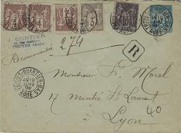 1898- Enveloppe E P 15 C Sage RECC.  + Compl. Petites Valeurs  Oblit. TROYES-QUARTIER-BAS / AUBE - Postmark Collection (Covers)