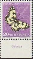 "Schweiz Suisse Pro Juventute 1952: Zu 145 Mi 577 Yv 528 ** MNH + Tab Italiano ""Galatea"" (SBK CHF 5.20) - Butterflies"