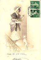 1911- C P A  Fantaisie  Affr. Paire 5 C Semeuse Oblit. Conv. Ligne PARIS A TROYES B - Marcophilie (Lettres)