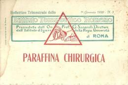 "5052""PARAFFINA CHIRURGICA-ISTITUTO TERAPEUTICO ROMANO-BOLL. TRIM. 1° GENNAIO 1920 N° 3 ""24 PAGINE+COPERTINE- ORIG. - Médecine, Biologie, Chimie"