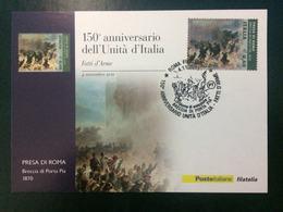 """2011 Cartolina Filatelicha FDC """"150°ANNIVER. UNITA' D'ITALIA 2011 -""""FATTI D'ARME"""" Annullo 1 Giorno - 6. 1946-.. Repubblica"""