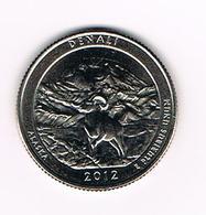 //  U.S.A.  1/4 DOLLAR  ALASKA - DENALI PARK   2012  D - Émissions Fédérales