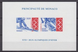 Monaco 11.02.1994 IMPERF Y&T # Bl 63а 1994 LillehammerWinter Olympics MNH OG - Invierno 1994: Lillehammer