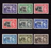 TRISTAN  DA  CUNHA    1952    George VI    Part  Set  Of  9    MH - Tristan Da Cunha
