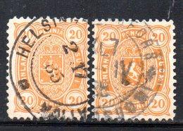 APR698 - FINLANDIA 1885 , Yvert N 23 Due Valori Usati (2380A) - Gebruikt