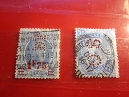 2 Timbres De Belgique-Perforation : --Perforés Perforé Perforés Perfin Perfins Perforated Stamp - Perfins