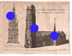 GRAVURE  De DEVEL  Eglise Métropolitaine De St Rombault MECHELEN MALINES Gravure Originale Vers 1750  RARE - Documents Historiques