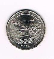 //  U.S.A.  1/4 DOLLAR  TENNESSEE - GREAT SMOKY MOUNTAINS   2014 P - Émissions Fédérales