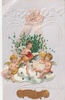 CPA Heureuse Année : Anges Jouant D'un Instrument De Musique Et Anges Chantant - Gaufrée, Tissu, Découpi - Anges