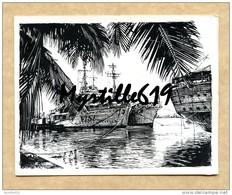 Carte De Voeux - Dessin Frégate Nivôse (F732) - Forces Maritimes D'extrême Orient (1954) - Campagne D'Indochine - Bateaux