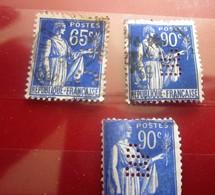 3 Timbres Type La Paix -Perforation: Perforés Perforé Perforés Perfin Perfins Perforated Stamp-France - Perforés