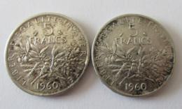 Achat Immédiat - France - 2 Monnaies 5 Francs Semeuse 1960 En Argent - SUP - France