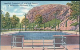 POSTAL MANCHESTER - N H - MUNICIPAL SWIMMING POOL WHITH ROCK RIMMON IN BACKGROUND - Manchester